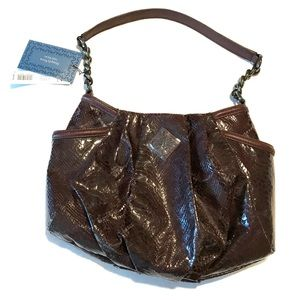 NWT Simply Vera imitation snakeskin purple handbag